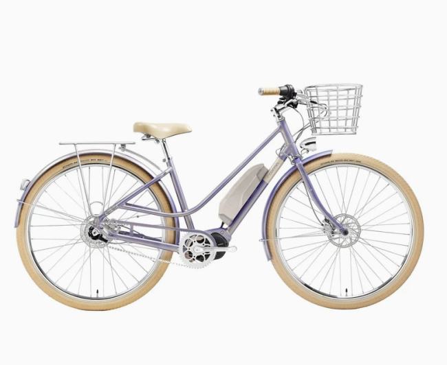 best electric bike with a basket purple or silver